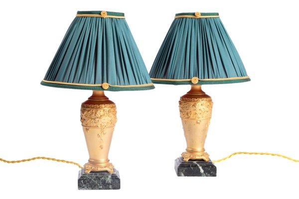 Lampade da tavolo antiche Art Nouveau in bronzo dorato di Paul Louchet, set di 2