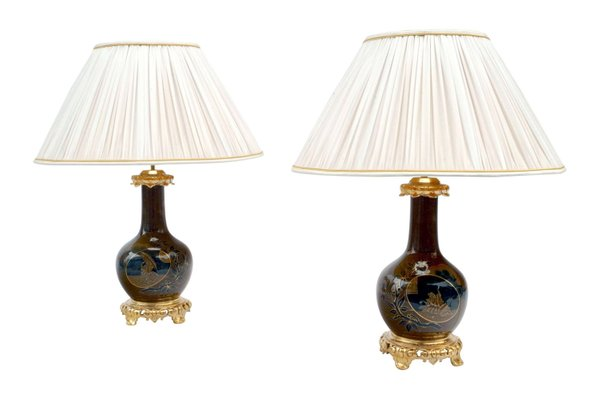Antique Japanese Style Brown Blue, Lamps Antique Style
