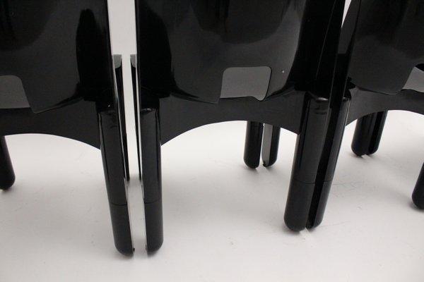 Sedie Universale 4860 in plastica nera di Joe Colombo per Kartell, anni '70, set di 4