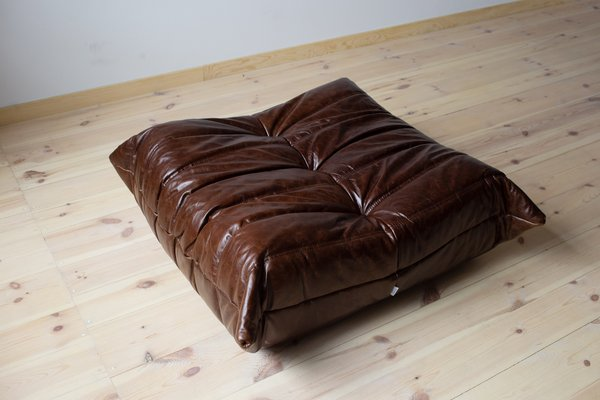 Marvelous Vintage Brown Leather Togo Ottoman By Michel Ducaroy For Ligne Roset 1980S Ncnpc Chair Design For Home Ncnpcorg
