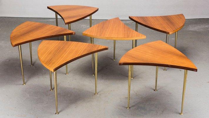 Round Pinwheel Teak Coffee Table Set 1960s For Sale At Pamono