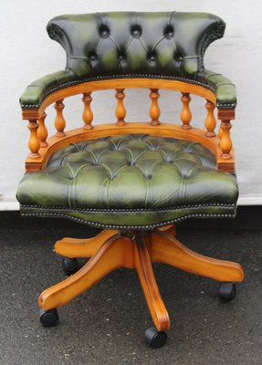 Fabulous Green Leather Mahogany Captains Chair 1960S Machost Co Dining Chair Design Ideas Machostcouk