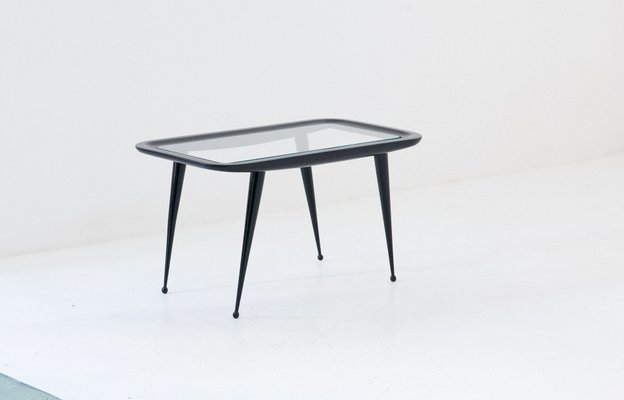 Glass Table Coffee Table.Italian Lacquered Wood Coffee Table With Glass Top 1950s