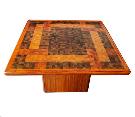 Danish Wood End Grain Mosaic Coffee Table By G L Christensen R Middelboe For Tranekær Furniture 1970s