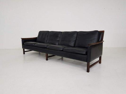 Minerva\' Rosewood & Black Leather 4-Seat Sofa by Torbjørn Afdal for  Bruksbo, 1950s