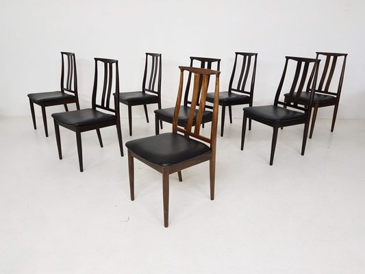 Sensational Rosewood Black Leather Lounge Chairs From Danish Overseas Furniture 1960S Set Of 8 Cjindustries Chair Design For Home Cjindustriesco