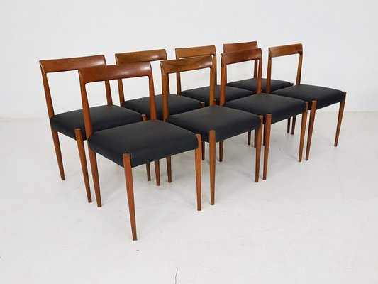 German Leather Dining Chairs From Lübke, 1960s, Set Of 8