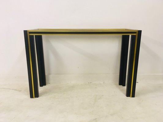 Vintage Italian Br Black Metal Console Table Mirror Set 1970s
