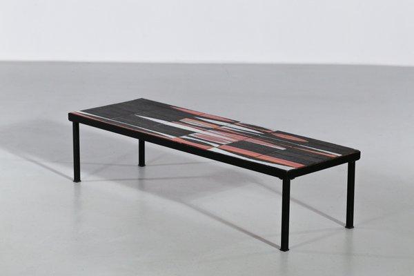 Table Basse Navette Par Roger Capron France 1950s