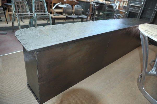 Antique Industrial Metal Low Sideboard 1900s