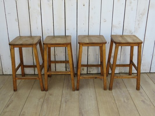 Surprising English School Lab Bar Stools 1940S Set Of 4 Caraccident5 Cool Chair Designs And Ideas Caraccident5Info