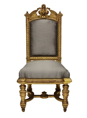 Superbe Antique Napoleon III Water Gilded Chairs, 1860s, Set Of 2