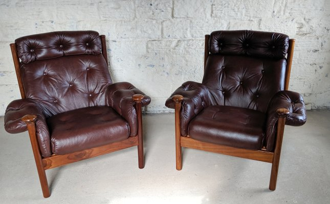 Astounding Leather Lounge Chairs By Guy Rogers 1960S Set Of 2 Machost Co Dining Chair Design Ideas Machostcouk