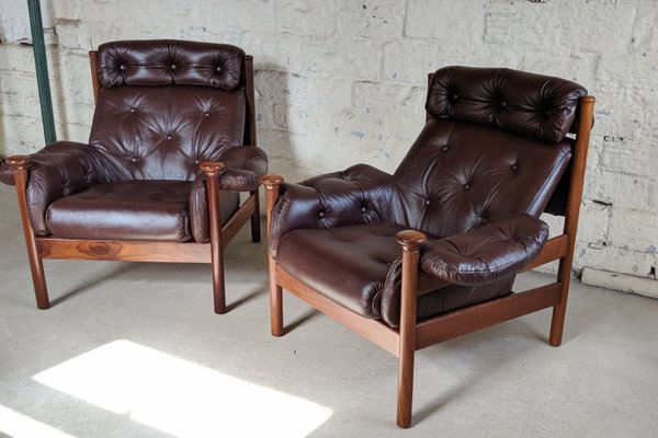 Fantastic Leather Lounge Chairs By Guy Rogers 1960S Set Of 2 Machost Co Dining Chair Design Ideas Machostcouk