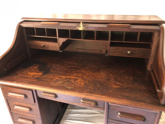 Antique Oak Roll Top Pedestal Desk From Globe Wernicke For Sale At