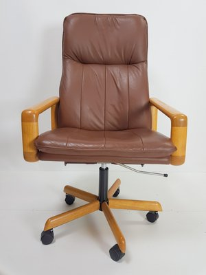Terrific Vintage Danish Leather Executive Swivel Office Chair 1960S Gamerscity Chair Design For Home Gamerscityorg