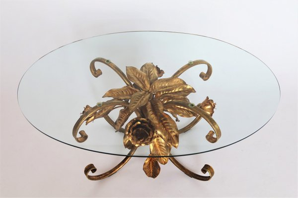 Vintage Gold Palm Coffee Table By Hans Kogl 1970 For Sale At Pamono