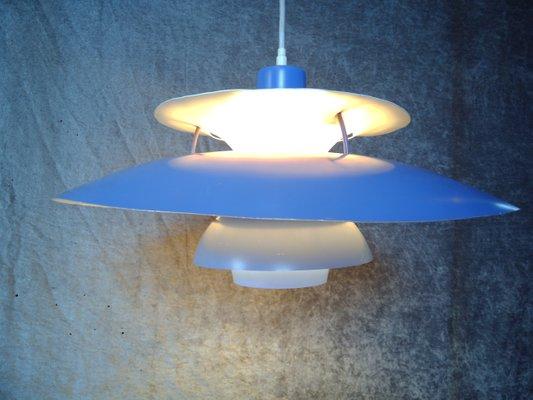 Vintage Model Ph 5 Blue Pendant Lamp By Poul Henningsen For Louis Poulsen