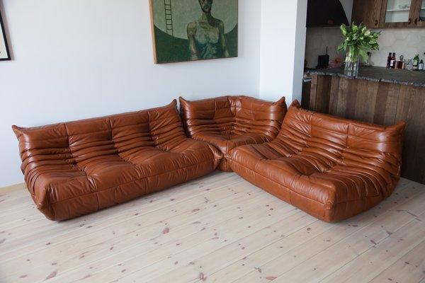 Vintage Leather Modular Sofa Set By Michel Ducaroy For Ligne Roset 1970s