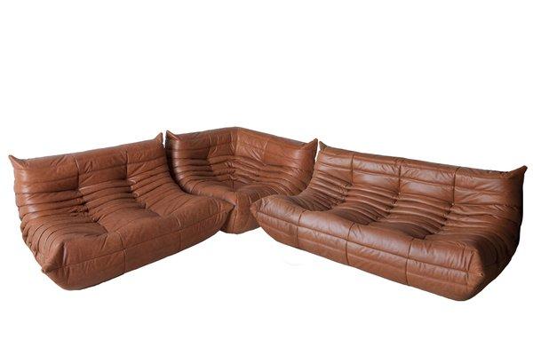 Vintage Brown Leather Modular Sofa Set By Michel Ducaroy For Ligne Roset 1970s