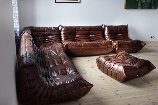 Vintage Togo Brown Leather Modular Sofa And Ottoman Set By Michel Ducaroy For Ligne Roset 1980s