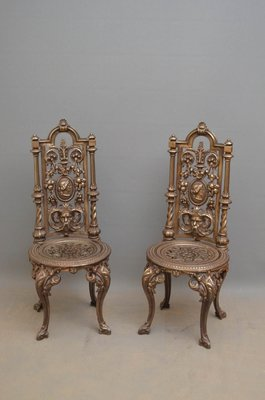 Antique Cast Iron Chairs Set Of 2 For