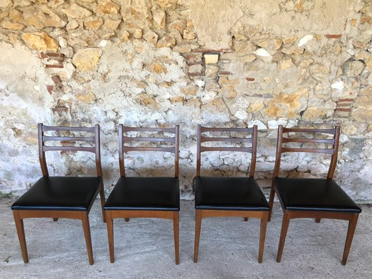Superb Mid Century Teak Black Vinyl Dining Chairs From Meredew Set Of 4 Gmtry Best Dining Table And Chair Ideas Images Gmtryco