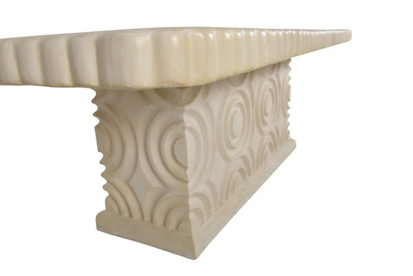 Belgian Resin Plaster Table With Geometric Roundels And Central Base 2016