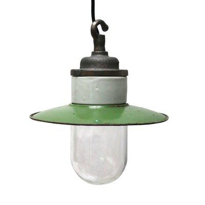 Vintage Industrial Green Enamel Cast Iron Porcelain Glass Pendant Light 1950s