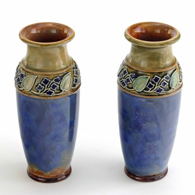 Art Nouveau Style Stoneware Vases By Maud Bowden For Royal Doulton 1920s Set Of 2 For Sale At Pamono