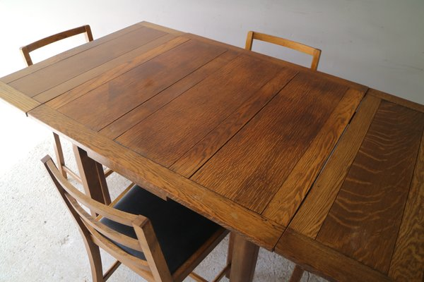 Excellent Vintage Oak Dining Table Set With Chairs 1920S Cjindustries Chair Design For Home Cjindustriesco