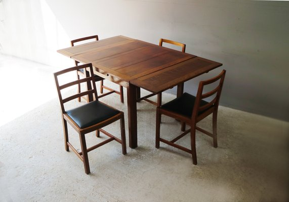 Vintage Oak Dining Table Set With Chairs 1920s