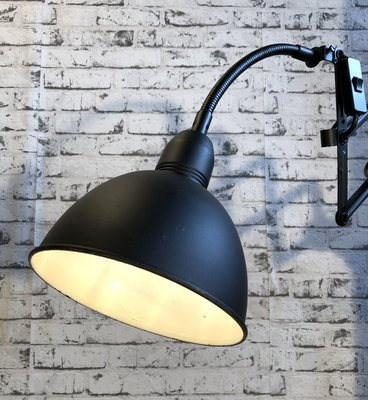 Vintage Industrial Black Scissor Wall Lamp from Elektroinstala, 1960s