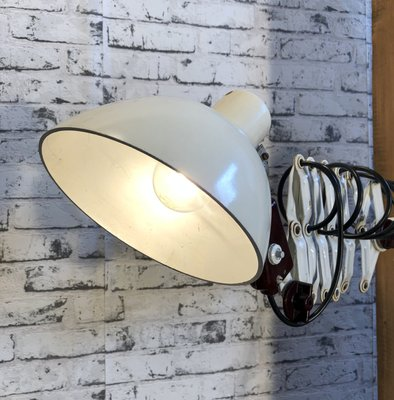 Industrial White Scissor Lamp from VEB, 1960s