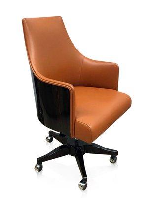 Sedie Da Ufficio Arancione.Sedia Da Ufficio Impiallacciata In Legno E In Pelle Arancione Di