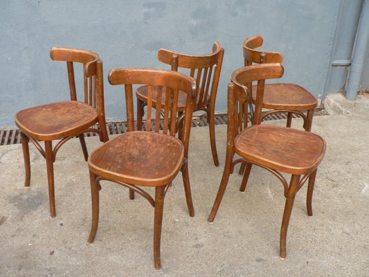 Vintage Wooden Bistro Chairs Set Of 5