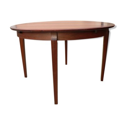 Round Mid Century Scandinavian Rosewood Veneer Extendable Dining Table For Sale At Pamono
