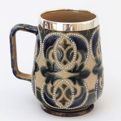 Mug With Mappin Webb Silver Mount For Doulton Lambeth 1880s For Sale At Pamono