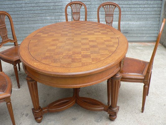 Antique Louis XVI Oval Table And Chairs, Set Of 7