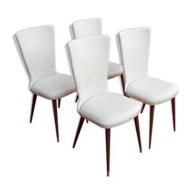 Chaises De Salle A Manger En Simili Cuir Blanc 1960s Set De 4 En