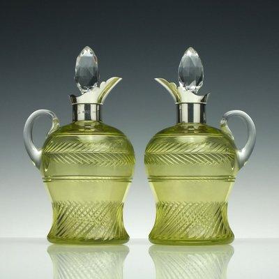 Antique Silver Vaseline Glass Claret Jugs, 1900s, Set of 2
