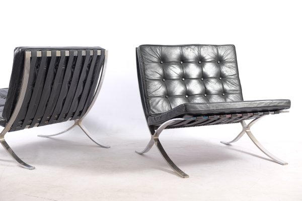 Vintage German Barcelona Chairs by Ludwig Mies van der Rohe for Knoll International, Set of 2 for sale at Pamono