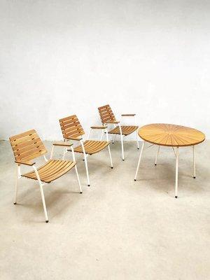 Teak Garden Table >> Danish Metal And Teak Garden Table Chairs Set From Daneline 1960s