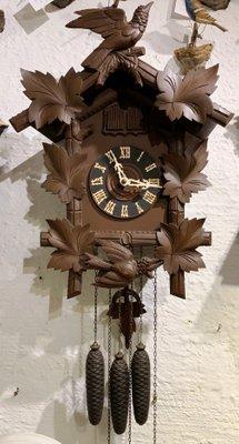 Antique German Wooden Clock By Hubert