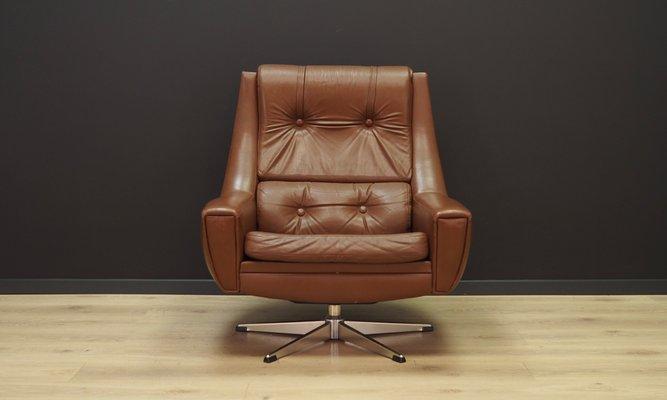 Mid Century Danish Leather Swivel Chair 1960s