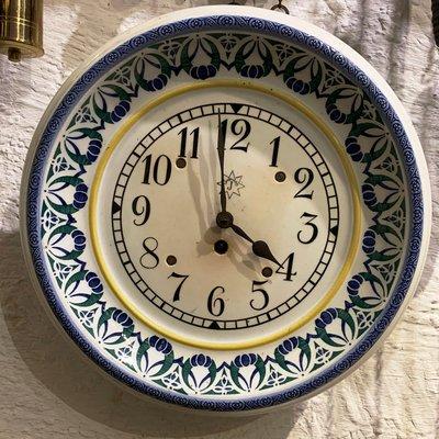 Sensational Hand Painted Ceramic Kitchen Clock From Junghans 1920S Download Free Architecture Designs Rallybritishbridgeorg