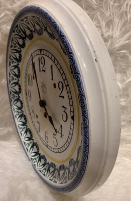 Awesome Hand Painted Ceramic Kitchen Clock From Junghans 1920S Download Free Architecture Designs Rallybritishbridgeorg