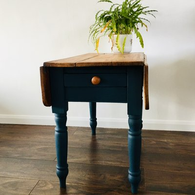 Small Antique Victorian Pine Drop Leaf Kitchen Table