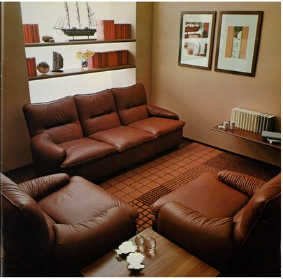 Italian Leather Living Room Set by Martino Perego for Seven Salotti, 1970s