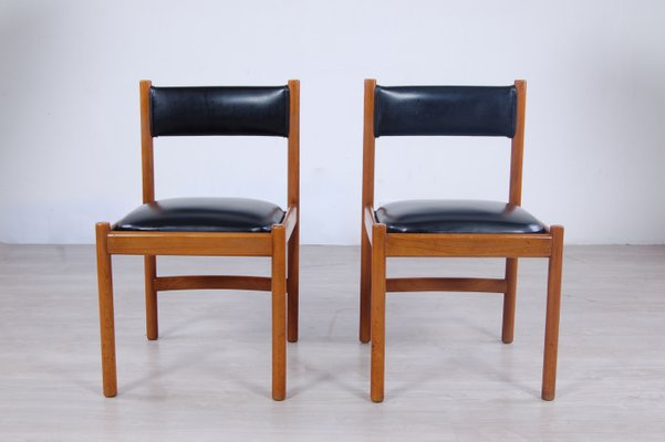 Cool Italian Modern Leather And Wood Dining Chairs From Isa 1960S Set Of 2 Bralicious Painted Fabric Chair Ideas Braliciousco